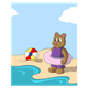 Bear at the Beach with beach ball and inner tube