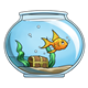 Goldfish in Bowl with treasure chest