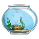 Fishbowl with treasure chest