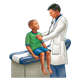Doctor Examining Boy on exam table with stethoscope