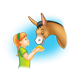 Girl Feeding Donkey with blue background