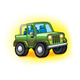 Green Jeep with yellow background