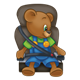 Button Bear buckled up in car seat