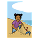 Tropical Beach girl playing in sand, toys