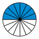Fraction Pie showing eight-sixteenths, blue, white