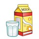 Yellow Milk Carton with a glass