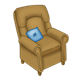Brown Armchair with blue throw pillow
