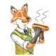 Father Fox eating a steaming hot dog