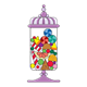 Decorative Candy Jar purple, full of candy
