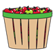 Bushel Basket of red and green apples