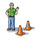 Workman with traffic cones