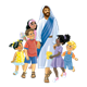 Jesus and Children holding hands