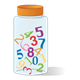 Glass Jar with lid and multicolored numbers