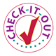 Purple 'Check-It-Out' with a red check mark