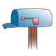 Empty Blue Mailbox  with flag down
