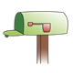Empty Green Mailbox   with flag down