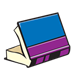 Blue and Purple Book open, on side