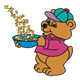 Bear with bowl of Mathbits cereal