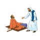 Jesus and Lame Man on mat with crutch