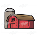 Red Barn and Gray Silo