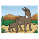 Donkeys in Desert jenny and foal