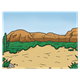 Desert with rock and cactus