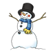 Snowman with top hat and blue scarf