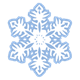 White Snowflake with blue outline