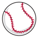 Baseball with crisscross stitches