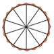 Fraction Pie showing zero-tenths, jagged orange edge