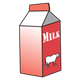 Red Milk Carton with cow on label