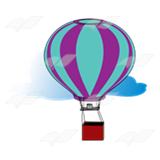 Hot Air Balloon and Cloud