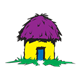 Grass Hut with purple roof