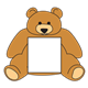 Brown Bear with blank sign