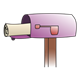 Open Purple Mailbox with newspaper sticking out