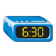 Blue Alarm Clock showing 6:30
