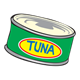 Tuna Can with yellow label and blue writing