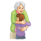 Grandmother hugging granddaughter
