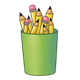 Green Pencil Cup holding pencils