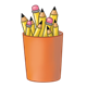 Orange Pencil Cup holding pencils