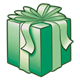 Dark Green Present with a green bow