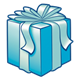 Dark Blue Present with an aqua bow