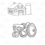Tractor, Barn, and Silo