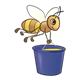 Bee carrying a blue honey bucket