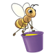 Bee carrying a purple honey bucket