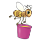 Bee carrying a pink honey bucket