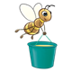 Bee carrying a teal honey bucket