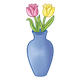 Blue Vase with yellow and pink tulips