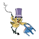 Yellow Bird with top hat, whip, and chair