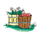 Wooden Baskets full of apples and corn, has grass